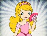 Desenho Princesa e leque pintado por Taiza