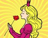 Desenho Princesa e rosa pintado por Agnys2005