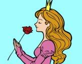 Desenho Princesa e rosa pintado por CamilaMR