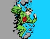 Superhero quebrar uma parede