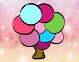 Árvore com folhas redondas