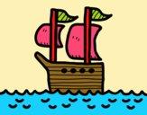 Barco no alto-mar