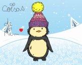Desenho Pinguim com chapéu do inverno pintado por CoisasDeMi