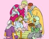 Desenho O nascimento de jesus pintado por luzinda