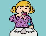 Desenho Menina a lavar os dentes pintado por Craudia