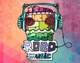 Desenho Robô music pintado por BiancaNA