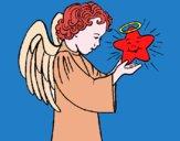 Desenho Anjo e estrela pintado por ceciliaz