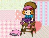Desenho Boneca sentada pintado por anaCFAIAL