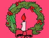 Desenho Coroa de natal e uma vela pintado por ceciliaz