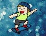 Desenho Menino com skate pintado por anaCFAIAL