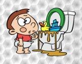 Desenho Menino no um vaso sanitário pintado por Craudia