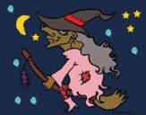 Desenho Bruxa em vassoura voadora pintado por ceciliaz