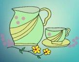Desenho Jarro e copo pintado por ceciliaz