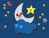 Desenho Lua e estrelas pintado por ceciliaz