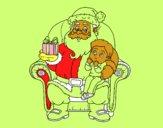 Papai Noel e da criança do Natal