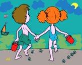 Desenho A menina eo menino na praia pintado por ceciliaz