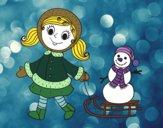 Desenho Menina com o trenó e boneco de neve pintado por isalu