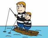 Pai e filho de pesca