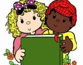 Desenho Crianças com um livro pintado por Jujuli