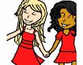 Desenho Meninas agitação mãos pintado por Jujuli