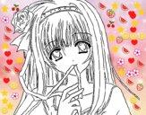 Desenho Rapariga anime pintado por alani