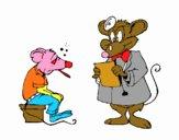 Doutor e paciente rato