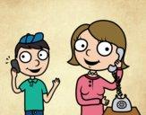 Desenho Mãe no telefone pintado por Craudia