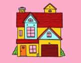 Desenho Casa de família americana pintado por mteresa