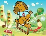 Cavalo saltando cerca