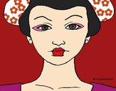 Desenho Cara de geisha pintado por Keithy