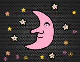 Desenho Lua com estrelas pintado por mcastrode