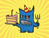 Desenho  Bolo de aniversário do monstro pintado por NdPraFazer