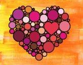 Desenho Coração com círculos pintado por Natani