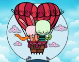 Desenho O balão do amor pintado por Natani