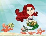 Desenho Sereia e seu peixe pintado por ThaySilvaa