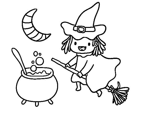 Desenho de A bruxa voadora e sua poção para Colorir