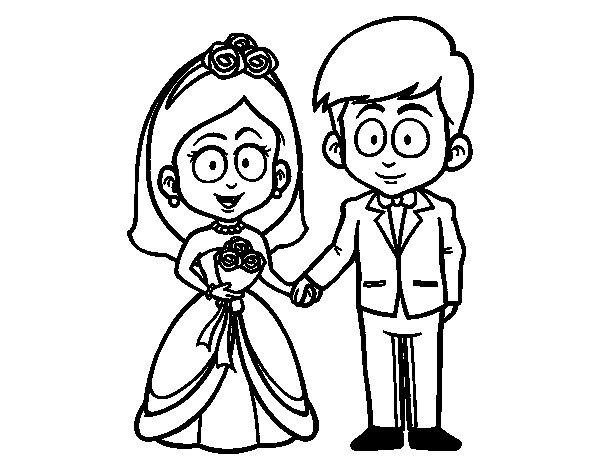 Desenho de A noiva eo noivo. para Colorir
