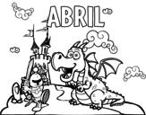Desenho de Abril para colorear
