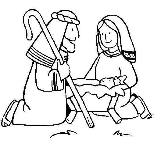 Desenho de Adoram o menino Jesús para Colorir