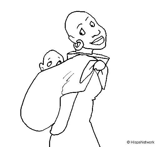 Desenho de Africana com pano porta-bebé para Colorir