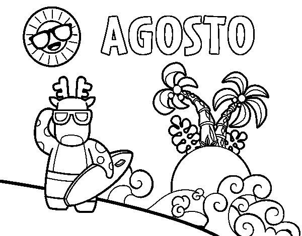 Desenho de Agosto para Colorir