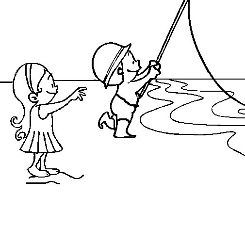 Desenho de Amigos de pesca para Colorir