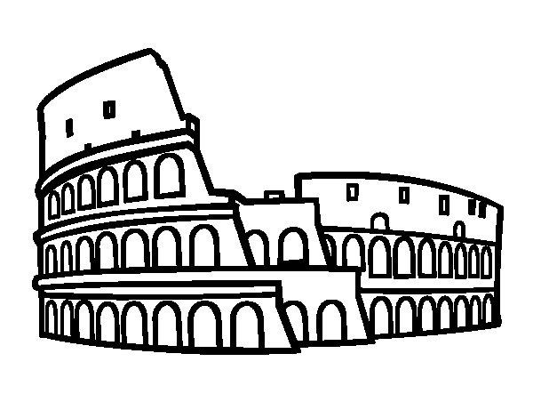 Desenho de Anfiteatro de Roma para Colorir