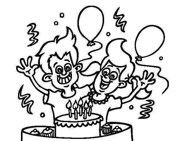 Desenho de Aniversário os irmãos para Colorir
