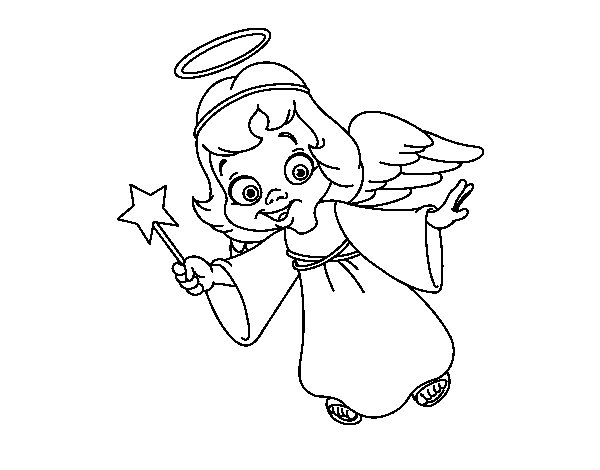 Desenho de Anjo de Natal mágico para Colorir