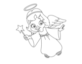 Desenho de Anjo de Natal mágico para colorear
