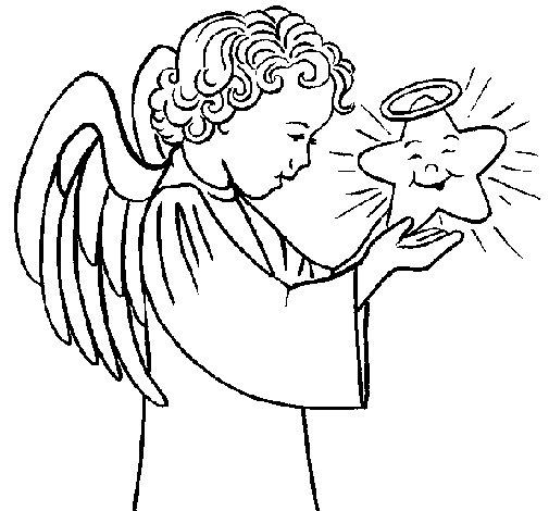 Desenho de Anjo e estrela para Colorir