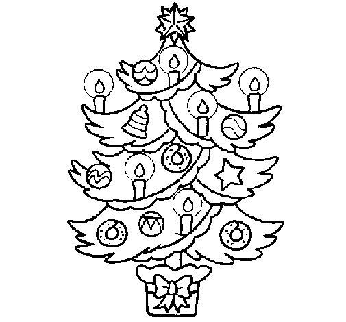 Desenho de Árvore de natal com velas para Colorir