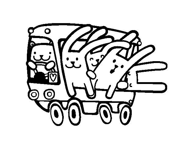 Desenho de Autocarro de coelhos para Colorir
