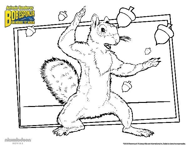 Desenho de Bob Esponja - A Esquilo para Colorir